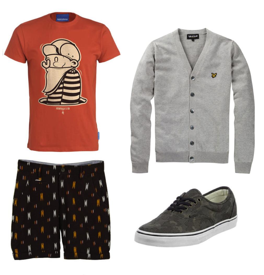 T,shirt Supremebeing Swag de chez Topman; Gilet gris clair vintage de Lyle  Scott; Short Paul de Frenchtrotters; Vans LPE camo